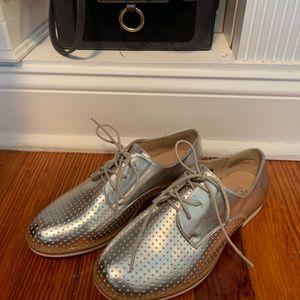Metallic Silver lace up flats